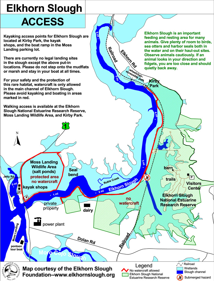 Elkhorn Slough Kayaking Map